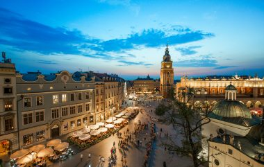 Krakow market square, Poland at sunset